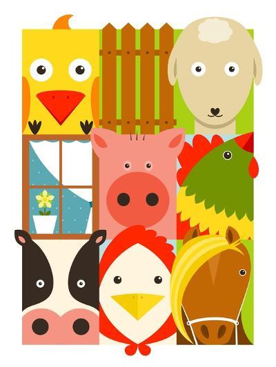 Flat Childish Rectangular Cattle Farm Animals Set. Animals Design Collection. Vector Layered Eps8 I-Popmarleo-Art Print