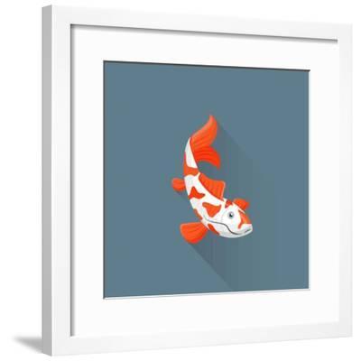 Flat Design White Orange Red Japanese Carp Koi Illustration- Trikona-Framed Photographic Print