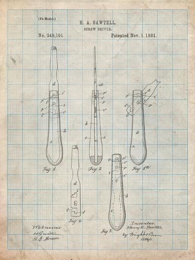 Flat Head Screw Driver Patent-Cole Borders-Art Print