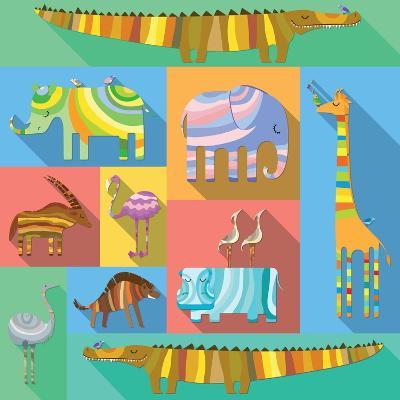 Flat Icons with African Animals-Evgeniya Balala-Art Print