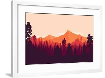 Flat Landscape of Mountain and Forest in Evening in Warm Tone. Vector Illustration- miomart-Framed Art Print