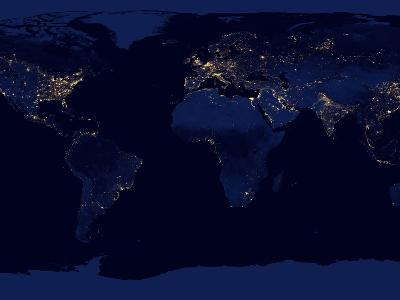 Flat Map of Earth Showing City Lights of the World at Night-Stocktrek Images-Photographic Print
