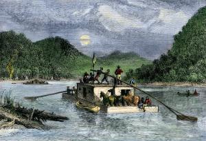 Flatboat of Settlers Descending the Ohio River, 1800s