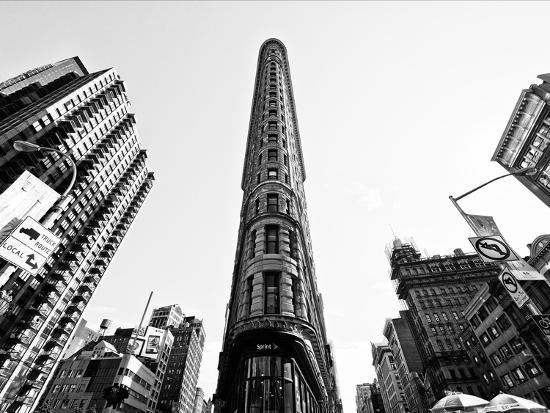 Flatiron Building, 5th Ave, Manhattan, New York, United States, Black and White Photography-Philippe Hugonnard-Photographic Print