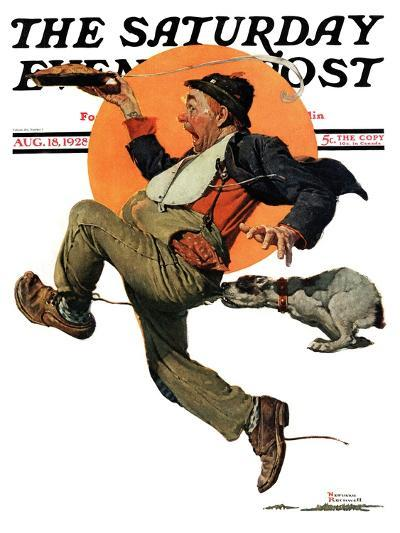 """Fleeing Hobo"" Saturday Evening Post Cover, August 18,1928-Norman Rockwell-Giclee Print"