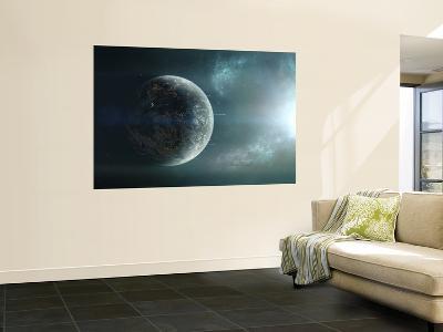 Fleet of Colonization Ships Departing an Earth-Like Planet-Stocktrek Images-Giant Art Print