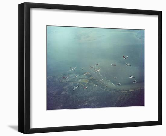 Fleet of US Air Force Operational Planes Flying in a Single Formation over Gulf Coast-J. R. Eyerman-Framed Photographic Print