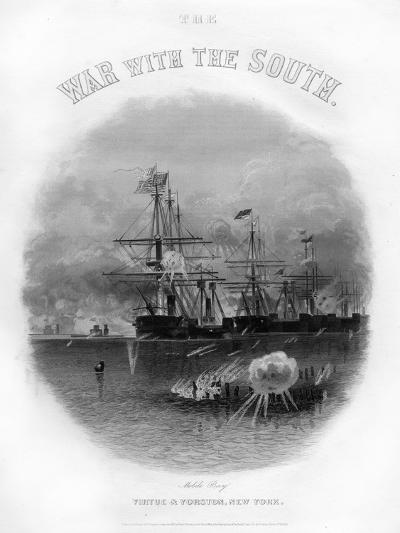 Fleet Passing the Fort and Obstructions, Battle of Mobile Bay, August 5, 1864--Giclee Print