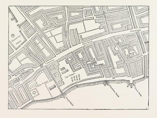 Fleet Street the Temple London from a Map of London Published 1720--Giclee Print