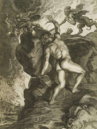 Sisyphus in Hades, Engraving, 17th Century