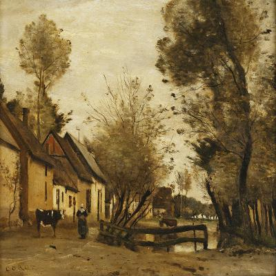 Flesselles, Street with Peasant and Cow-Jean-Baptiste-Camille Corot-Giclee Print