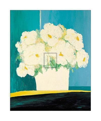 Fleurs Blanches au Pot Blanc-B^ Payet-Art Print