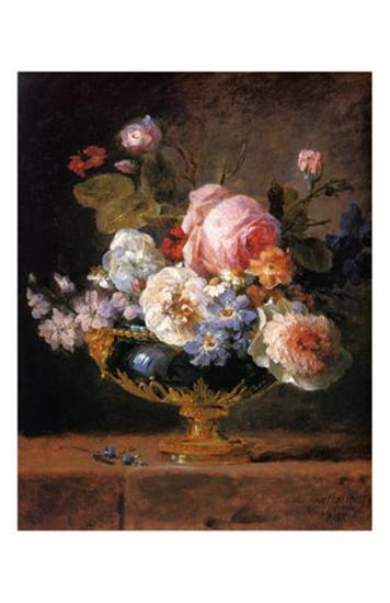 Fleurs dans un Vase de Porceleine Bleue, c.1780-Anne Vallayer-coster-Art Print