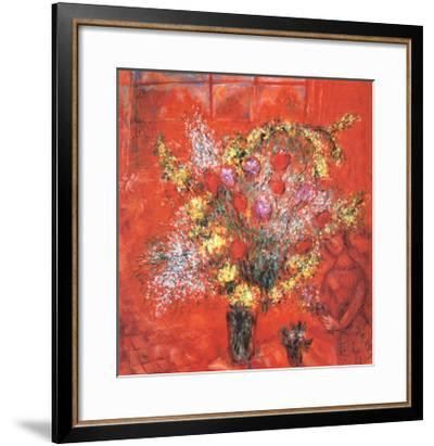 Fleurs Sur Fond Rouge, c.1970-Marc Chagall-Framed Art Print