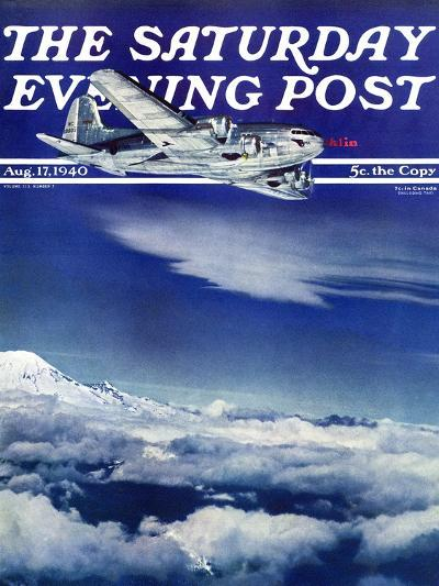 """Flight Above Clouds,"" Saturday Evening Post Cover, August 17, 1940-Clyde H^ Sunderland-Giclee Print"