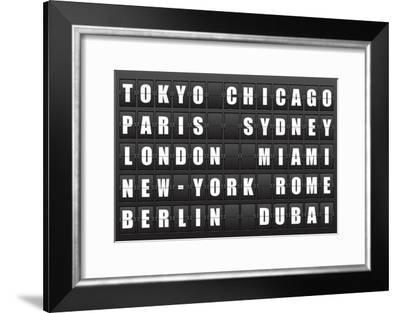 Flight Destination, Information Display Board Named World Cities Tokyo, Chicago, Paris, Sydney, Lon-cherkas-Framed Art Print
