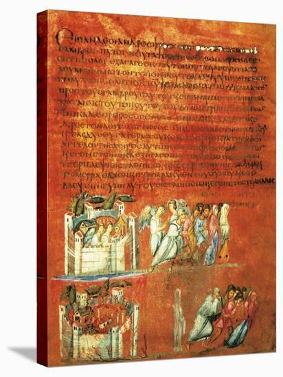 Flight of Loth and the Destruction of Sodom, Miniature from Genesis of Vienna--Stretched Canvas Print