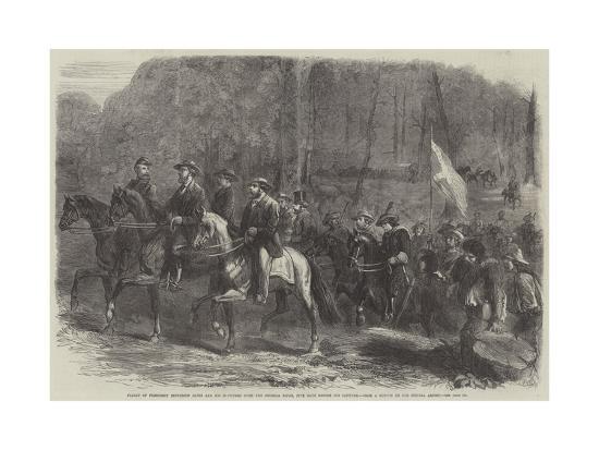 Flight of President Jefferson Davis and His Ministers over the Georgia Ridge--Giclee Print