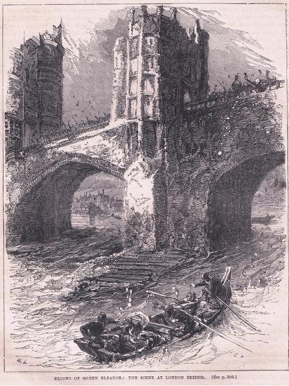 Flight of Queen Eleanor: Scene at London Bridge Ad 1263-Charles Ricketts-Giclee Print