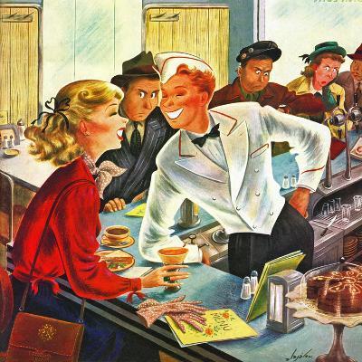 """""""Flirting Soda Jerk,"""" October 11, 1947-Constantin Alajalov-Giclee Print"""