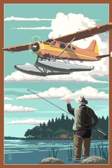 Float Plane and Fisherman-Lantern Press-Art Print