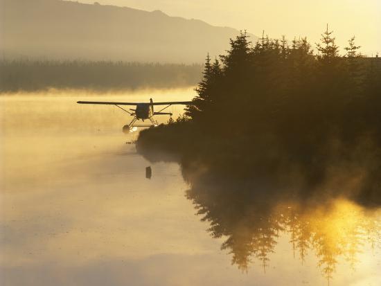 Float Plane on Beluga Lake at Dawn, Homer, Alaska, USA-Adam Jones-Photographic Print