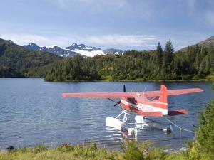 Float Plane Parked at Lake Side, Shrode Lake, Prince William Sound, Alaska, USA