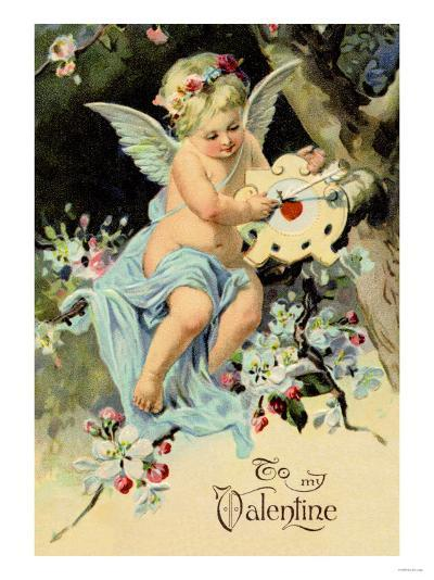 Floating Angel with Clock--Art Print