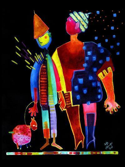 Floating Husband, Dog and Wife-Susse Volander-Art Print