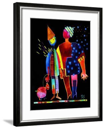 Floating Husband, Dog and Wife-Susse Volander-Framed Art Print