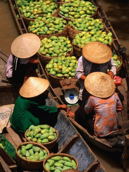 Floating Market along the Mekong Delta, an Giang, Vietnam-John Banagan-Photographic Print