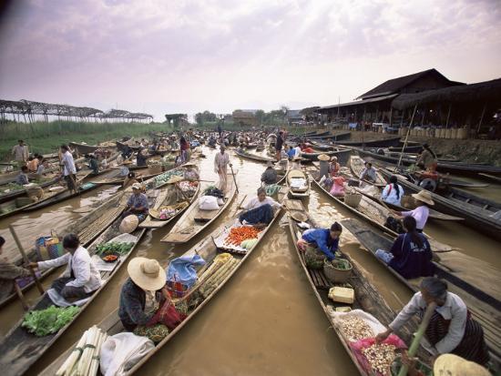 Floating Market, Inle Lake, Shan State, Myanmar (Burma), Asia-Colin Brynn-Photographic Print