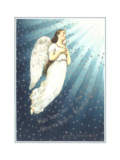 Floating White Angel with Rays of Light--Art Print