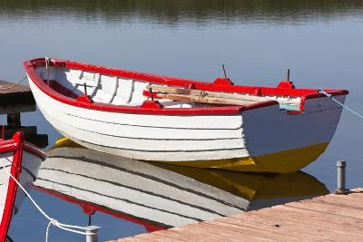 Floating Wooden Boat with Reflection-topdeq-Photographic Print