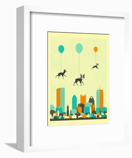Flock of Boston Terriers-Jazzberry Blue-Framed Art Print