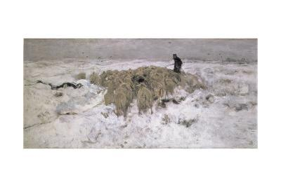 Flock of Sheep in the Snow-Anton Mauve-Giclee Print