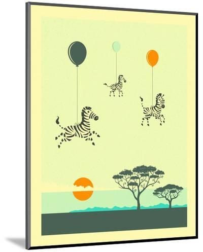 Flock of Zebras-Jazzberry Blue-Mounted Print