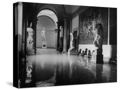"""Flooded Museum, Accademia, Michelangelo's, """"David"""" in Rear"""