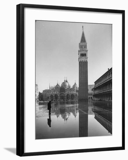 Flooded Piazza San Marco with St. Mark's Church in the Background-Dmitri Kessel-Framed Photographic Print