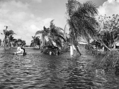 Flooded Street after the Hurricane, 1947--Photographic Print