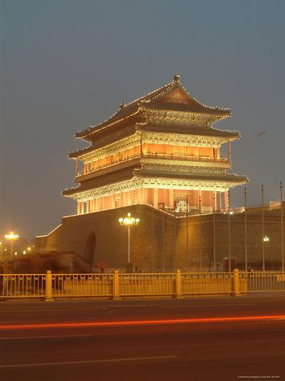 Floodlit Gate on Tiananmen Square with Car Light Streaks-Richard Nowitz-Photographic Print