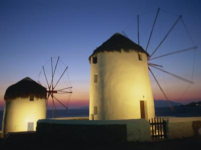 Floodlit Windmills at Night, Mykonos Town, Mykonos, Cyclades, Greek Islands, Greece, Europe-Lee Frost-Photographic Print