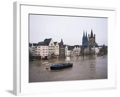 Floods in 1995, River Rhine, Cologne (Koln), Germany-Hans Peter Merten-Framed Photographic Print