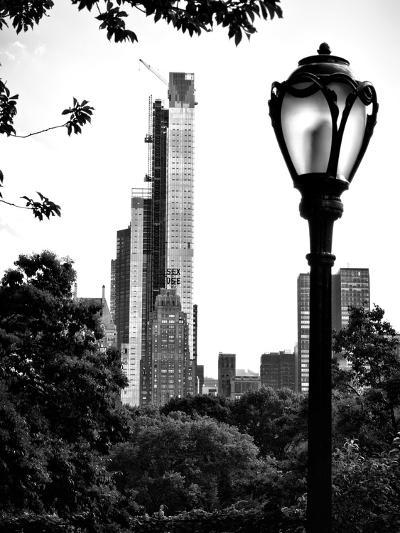 Floor Lamp in Central Park Overlooking Buildings (Essex House), Manhattan, New York-Philippe Hugonnard-Photographic Print
