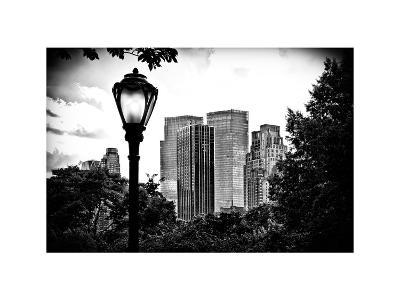 Floor Lamp in Central Park Overlooking Buildings, Manhattan, New York, White Frame-Philippe Hugonnard-Photographic Print