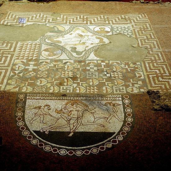 Floor mosaic showing Europa riding a bull, Lullingstone Roman Villa, Kent. Artist: Unknown-Unknown-Giclee Print