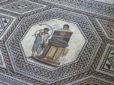 Floor Mosaic with Geometric Motifs and Medallion Depicting Organ and Horn Player--Giclee Print