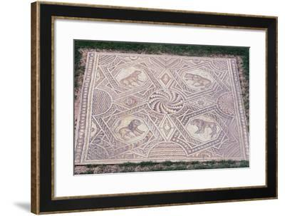 Floor Mosaic with Geometric Motifs and Octagons Depicting Animals from Jieh--Framed Giclee Print