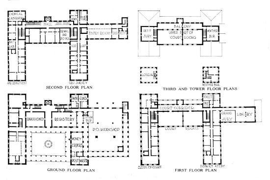 Floor plans, Federal Building, Honolulu, Hawaii, 1924-Unknown-Giclee Print