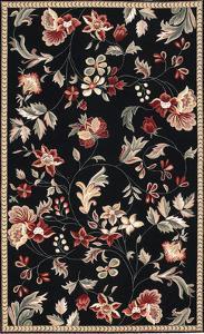 Flor Area Rug - Black/Cherry 5' x 8'